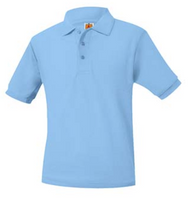 PO A+ Columbia Blue Unisex Polo Pique Short Sleeve NO LOGO