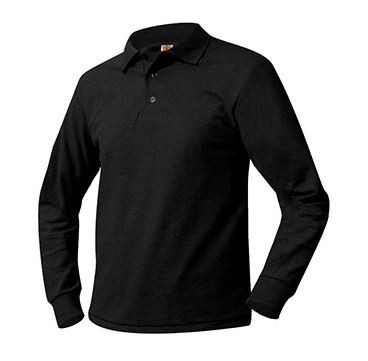 A+ Unisex Polo Pique Long Sleeve BLACK NO LOGO