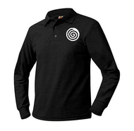 A+ Unisex Polo Pique Long Sleeve BLACK with LOGO