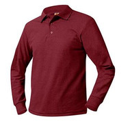 A+ Unisex Polo Pique Long Sleeve Cardinal Red no LOGO