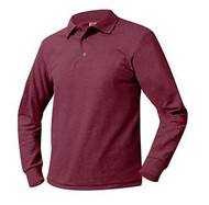 A+ Unisex Polo Pique Long Sleeve WINE no logo