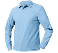 A+ Columbia Blue Long Sleeve Polo no Logo