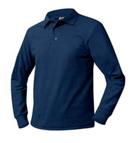 A+ Long Sleeve Navy Polo no Logo