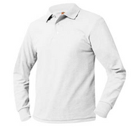 A+ Unisex Polo Pique Long Sleeve White