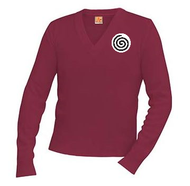 A+ V-Neck Pullover 6500 WINE with Logo