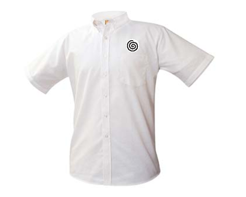A+ Unisex White Oxford Short Sleeve with Logo
