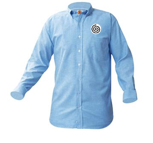 A+ Unisex Blue Oxford Short Sleeve with Logo