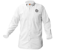 A+ Unisex White Oxford Long  Sleeve with Logo