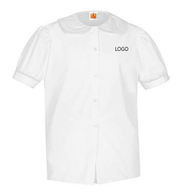 PP A+ Short Sleeve Peterpan Blouse White with LOGO