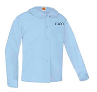 A+ Long Sleeve Peterpan Collar Blouse Blue with LOGO