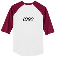 Spirit Wear Youth and Adult Unisex Raglan Baseball T-Shirt with Maroon Sleeve with LOGO