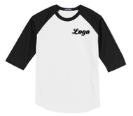 Spirit Wear Youth and Adult Unisex Raglan Baseball T-Shirt with Black Sleeve with LOGO