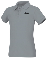 PO Classroom Gray Female Short Sleeve Pique Polo with Logo