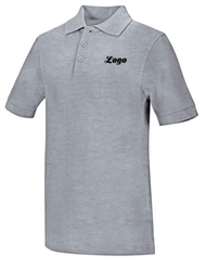 Unisex Gray Short Sleeve Polo with Logo