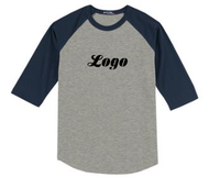 T Youth and Adult Unisex Baseball T-Shirt Grey with Navy Sleeves