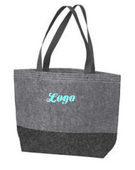 "Medium Felt Tote with School Logo Product Description Constructed from easy-to-decorate felt, this sturdy colorblock tote has riveted web handles. Available in two sizes, it's a budget-friendly way to carry almost anything in style.  100% polyester felt Dimensions: 12""h x 17""w x 4.25""d, Approx. 867 cubic inches"