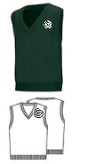 Classroom HUNTER GREEN V-Neck Pullover Vest with Logo  Youth Sizes XS-XL, Adult Sizes S-3XL.