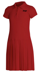 Classroom Pique Polo Dress RED with LOGO Girls combed cotton, ringspun pique knit polo dress with matching ribbed collar and banded sleeves, three-button front placket with dyed-to-match buttons, and drop waist with pleated skirt. 60% Cotton/40% Polyester knit. Imported.