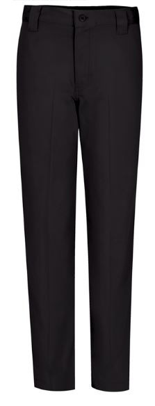 Boys Narrow Leg slack has a contemporary fit that is 2 inches narrower thru the leg than our traditional flat front pant. Slimmer leg without being tight, the Narrow leg pant is made from stretch twill with spandex for comfort and fit. Button-thru closure waist has interior adjustable tabs, 5 wide belt loops, and sits lower on the hip.  (This is the black slack for the Ambrose Christmas program.)