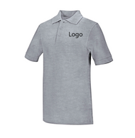 Unisex combed cotton, ringspun pique knit polo, matching collar and banded sleeve, three-button placket, dyed-to-match buttons, reinforced shoulder seams and double-needle hem. Colorfast, easy care 60% Cotton/40% Polyester.