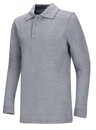 PO Classroom Unisex Long Sleeve Heathered Gray Polo WITH Logo