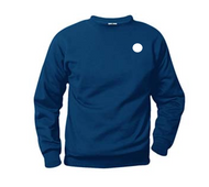 Navy Crew Neck Sweatshirt with Required Logo Features: Long sleeve fleece pullover with crew neck set-in sleeves, ribbed cuffs, cover stitched shoulders, neck, armholes and bottom waistband • A+ Fabrics: 60% cotton / 40% polyester