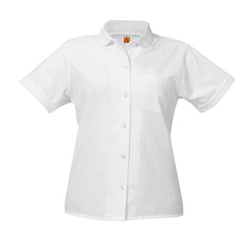 Jersey Knit Shirt Our jersey knit shirts with A+ female-fit are super comfortable. They feature reinforced stitching and Wear-Tested™ fabric for long-wearing durability. Rely on our commitment to quality control and color consistency to meet your uniform standards. These great looking knits won't shrink, pill or fade, and even stains come out more easily.   Color White Features 8360 • female short sleeve jersey knit shirt with button front, Peter Pan collar, chest pocket and hemmed cuffs • A+ Fabrics: 60% cotton / 40% polyester Sizes Youth XXS-YXL Adult S-3XL