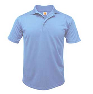 PO A+ Columbia Blue Unisex Polo Moisture Wicking Short Sleeve  with Logo