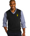 Black or Gray Span the divide between dressy and casual with this versatile v-neck sweater vest that pairs easily with slacks or jeans.      60/40 cotton/nylon     Rib knit v-neck, armholes and hem