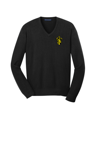 Black or Gray  A beautiful and versatile addition to any wardrobe, our fine-gauge v-neck sweater has fully-fashioned sleeves for strength, comfort and longer wear.      60/40 cotton/nylon     Rib knit v-neck, cuffs and hem