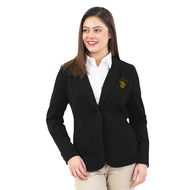 68/30/2% polyester/rayon/spandex Women's Unlined Blazer features a notched collar, front besom pockets and a straight hemmed back, machine washable