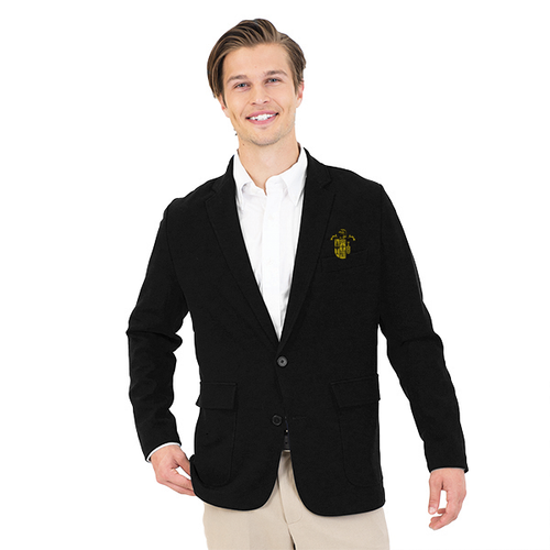68/30/2% polyester/rayon/spandex Men's Unlined Blazer features a notched collar, top left besom pocket, and inside pocket, patch pockets with flaps and a vented back, machine washable