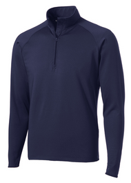 Navy Sport-Tek® Sport-Wick® Stretch 1/2-Zip Pullover. ST850 An extremely flexible layer with a soft-brushed backing and moisture control for year-round comfort. 90/10 poly/spandex jersey Tag-free label Smooth-faced Chin guard for additional comfort Cadet collar Taped neck Raglan sleeves Open cuffs and hem