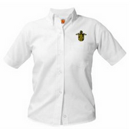 OX WHITE Short Sleeve Pinpoint Oxford Shirt  with Bishop Kelly Logo (youth & adult)
