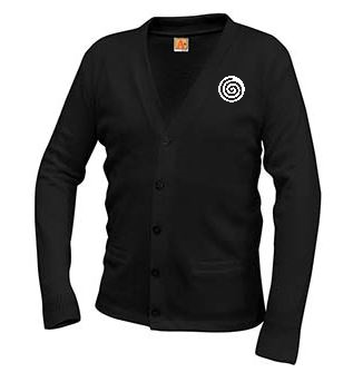 A+ Classic V-Neck Cardigan 6300 BLACK  with LOGO
