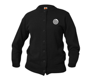 A+ Female Cardigan Crew Neck Sweater 6000 BLACK with LOGO