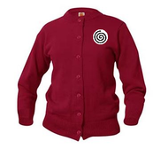A+ Female Cardigan Crew Neck Sweater 6000 CARDINAL RED with LOGO