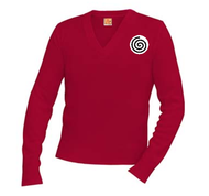 A+ V-Neck Pullover 6500 CARDINAL RED with Logo