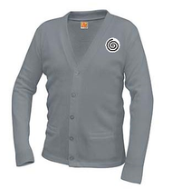 SW A+ Classic V-Neck Cardigan 6300 GRAY w/Logo $5 of your purchase will go to St. John's Cathedral
