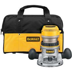 DeWALT -  2 1/4 Maximum Motor HP Electronic VS Fixed Base Router w/ Soft Start w/ Bag - DW618K