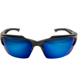 Edge Eyewear -  Khor Polarized, Black/Aqua Precision Blue Mirror Lens - TSDKAP418