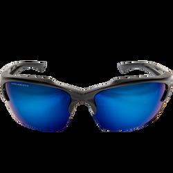 Edge Eyewear -  Khor Polarized, Black/Aqua Precision Blue Mirror Lens - TSDKAP418