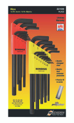 Bondhus 22199 - Hex L-wrench Double Pack, Long Length, 12137 (.050-3/8-Inch) & 12199 (1.5-10mm)
