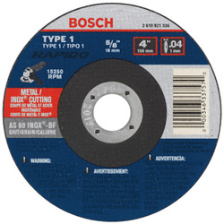 Bosch -  5 x .040 x 7/8 Type 1 Thin Cutting Disc AS60INOX-BF for Stainless/Metal  (Bulk) - TCW1S500