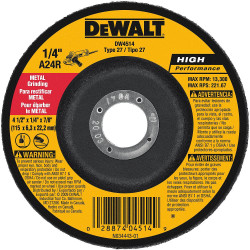 "DeWALT -  4-1/2"" x 1/4"" x 7/8""  General Purpose Metal Grinding Wheel - DW4514"