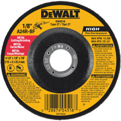 "DeWALT -  4-1/2"" x 1/8"" x 7/8"" General Purpose Metal Cutting/rinding Wheel - DW4518"