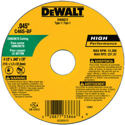 "DeWALT -  4-1/2"" x .045"" x 7/8""C30S Concrete/Masonry Cut-off Wheel - Type 1  - DW8072"