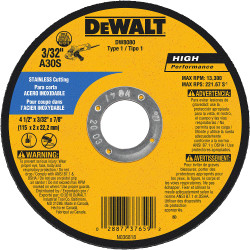 "DeWALT -  4-1/2"" x 1/8"" x 7/8"" Stainless Cut-off Wheel - Type 1  - DW8080"