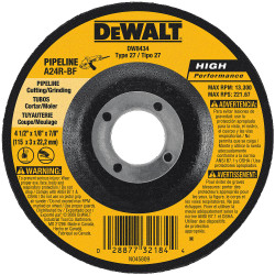 "DeWALT -  4-1/2"" x 1/8"" x 7/8"" Pipeline Cutting / Grinding Wheel - DW8434"
