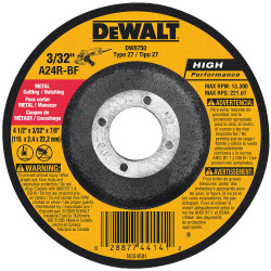 "DeWALT -  4-1/2"" x 3/32"" x 7/8""  General Purpose Metal Cutting/Grinding Wheel - DW8750"